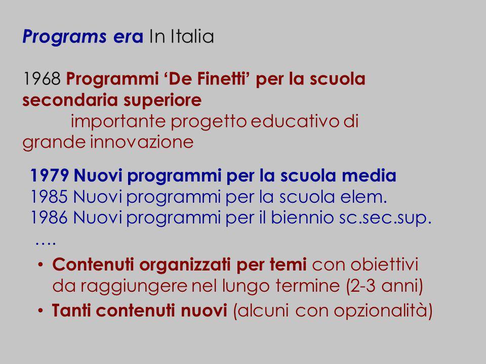Programs er a In Italia 1968 Programmi De Finetti per la scuola secondaria superiore importante progetto educativo di grande innovazione Contenuti org