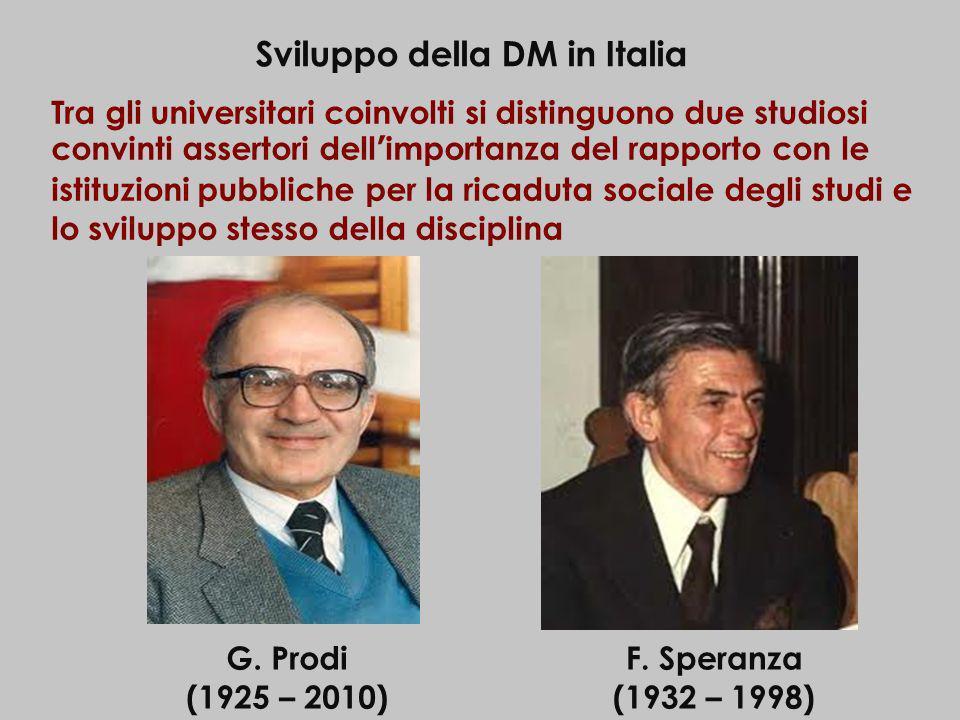Sviluppo della DM in Italia Tra gli universitari coinvolti si distinguono due studiosi convinti assertori dellimportanza del rapporto con le istituzio