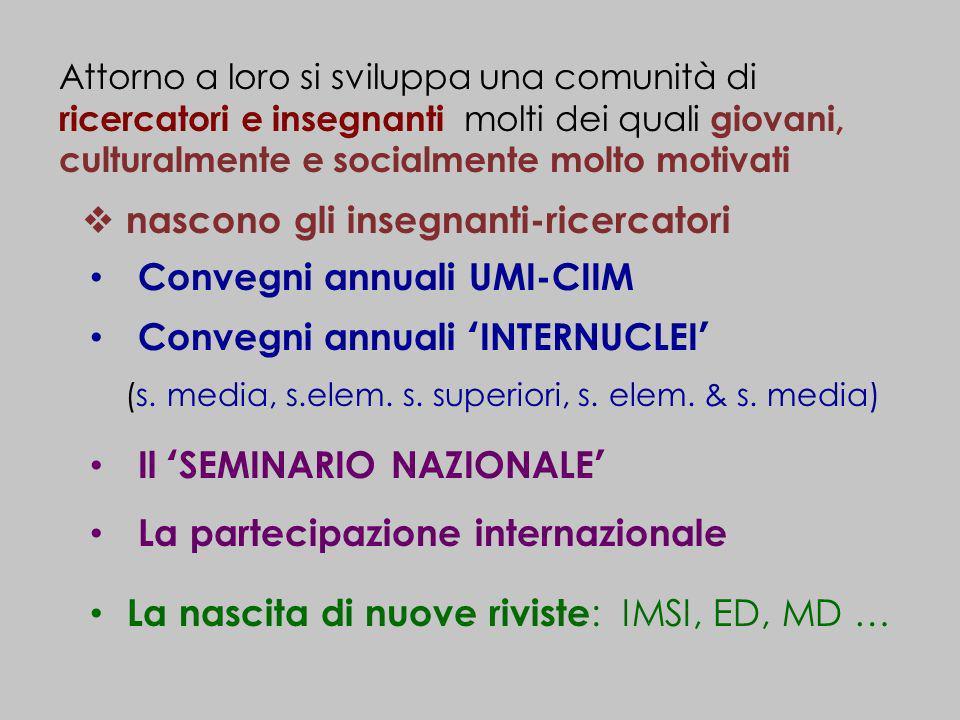 La nascita di nuove riviste : IMSI, ED, MD … Convegni annuali INTERNUCLEI (s. media, s.elem. s. superiori, s. elem. & s. media) Attorno a loro si svil