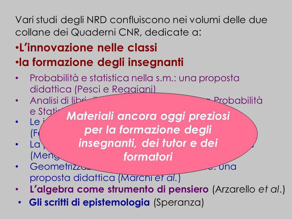 Vari studi degli NRD confluiscono nei volumi delle due collane dei Quaderni CNR, dedicate a : Linnovazione nelle classi la formazione degli insegnanti