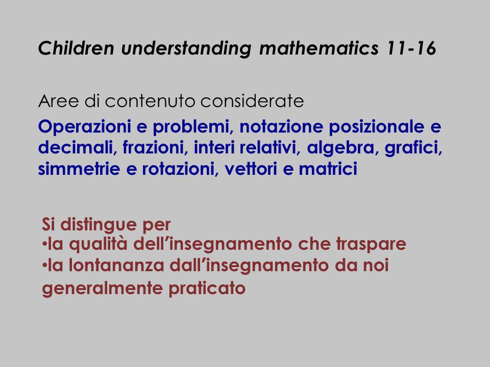 Aree di contenuto considerate Operazioni e problemi, notazione posizionale e decimali, frazioni, interi relativi, algebra, grafici, simmetrie e rotazi