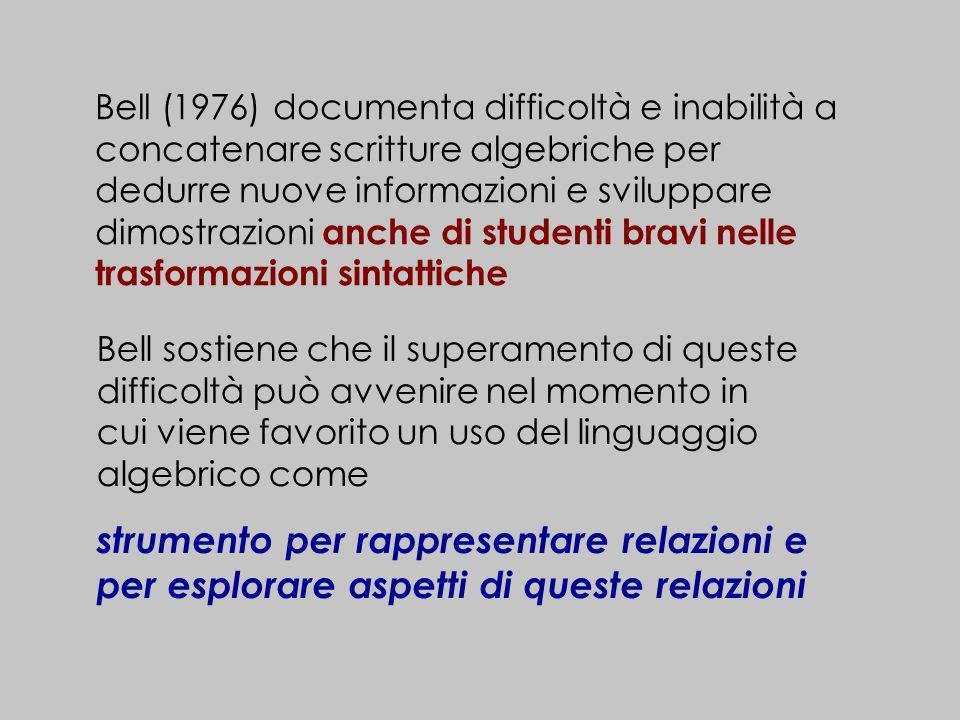 Bell (1976) documenta difficoltà e inabilità a concatenare scritture algebriche per dedurre nuove informazioni e sviluppare dimostrazioni anche di stu