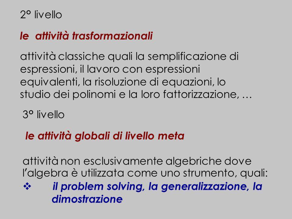 2° livello le attività trasformazionali attività classiche quali la semplificazione di espressioni, il lavoro con espressioni equivalenti, la risoluzi