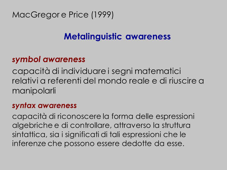 s ymbol awareness capacità di individuare i segni matematici relativi a referenti del mondo reale e di riuscire a manipolarli MacGregor e Price (1999)