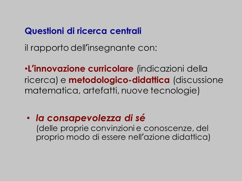Questioni di ricerca centrali il rapporto dellinsegnante con: Linnovazione curricolare (indicazioni della ricerca) e metodologico-didattica (discussio