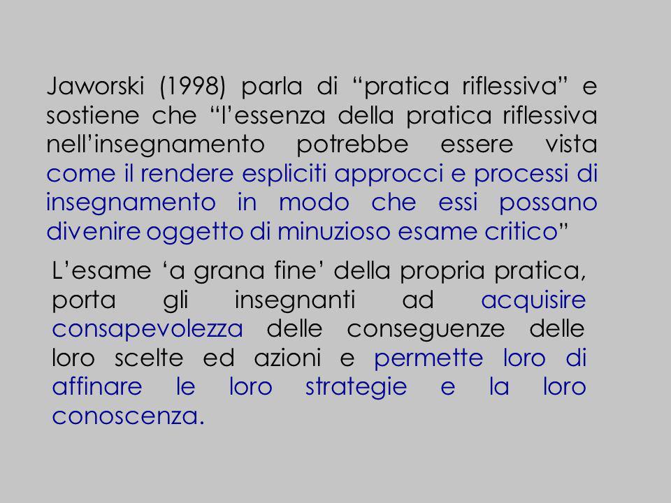 Jaworski (1998) parla di pratica riflessiva e sostiene che lessenza della pratica riflessiva nellinsegnamento potrebbe essere vista come il rendere es