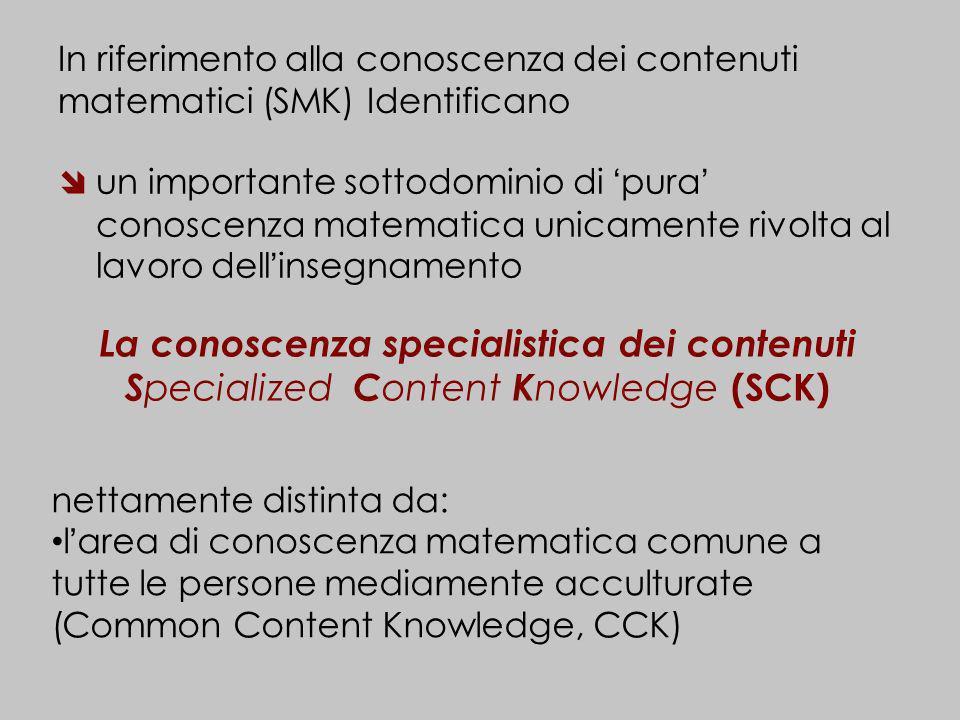 In riferimento alla conoscenza dei contenuti matematici (SMK) Identificano un importante sottodominio di pura conoscenza matematica unicamente rivolta