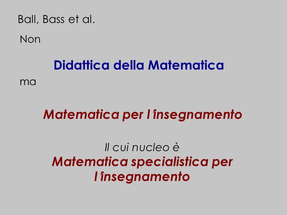 Non Didattica della Matematica ma Ball, Bass et al. Matematica per linsegnamento Il cui nucleo è Matematica specialistica per linsegnamento