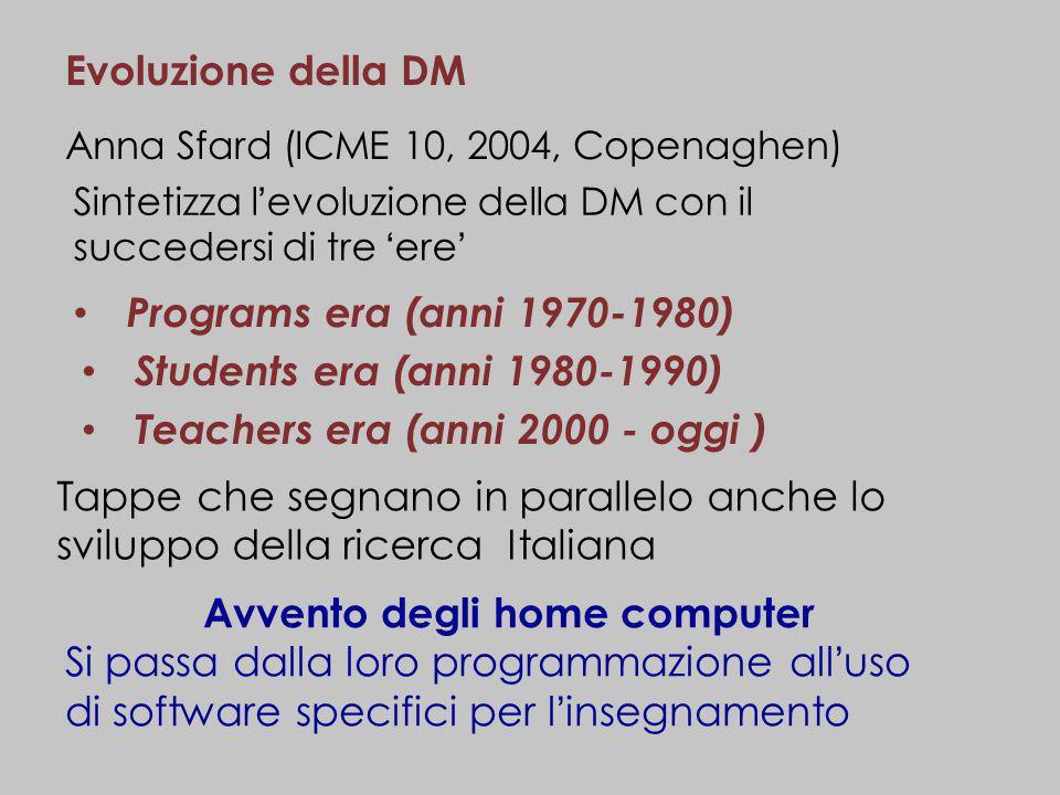Evoluzione della DM Anna Sfard (ICME 10, 2004, Copenaghen) Sintetizza levoluzione della DM con il succedersi di tre ere Programs era (anni 1970-1980)