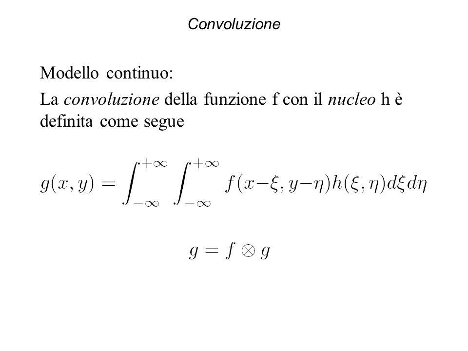 Convoluzione Modello continuo: La convoluzione della funzione f con il nucleo h è definita come segue