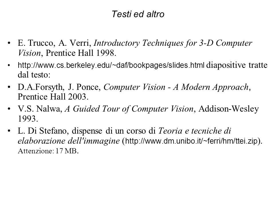 Testi ed altro E. Trucco, A. Verri, Introductory Techniques for 3-D Computer Vision, Prentice Hall 1998. http://www.cs.berkeley.edu/~daf/bookpages/sli
