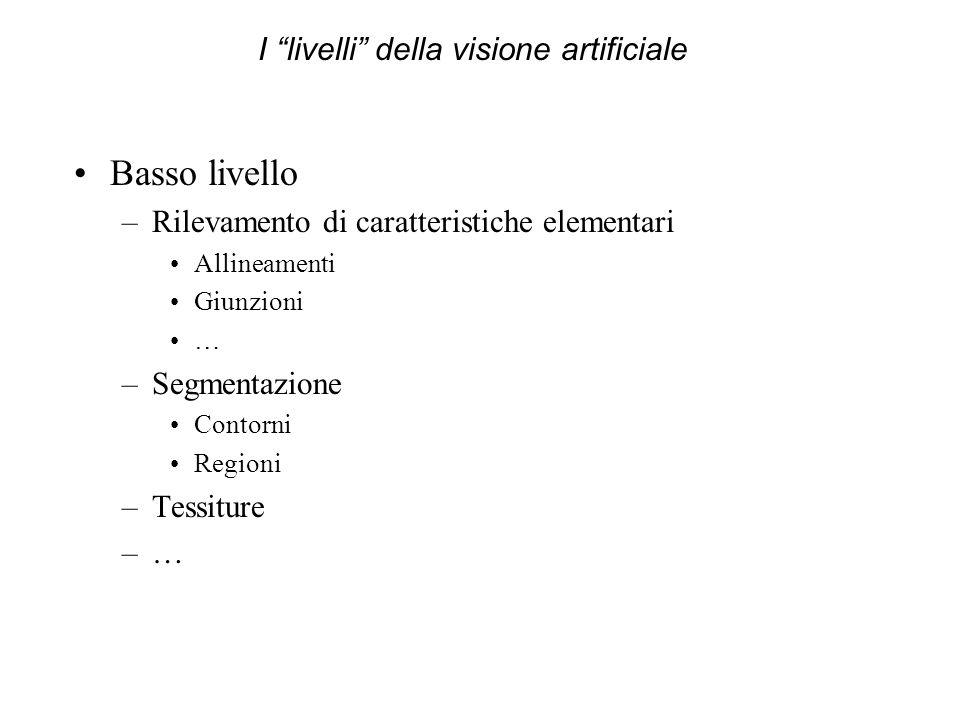 Basso livello –Rilevamento di caratteristiche elementari Allineamenti Giunzioni … –Segmentazione Contorni Regioni –Tessiture –… I livelli della vision