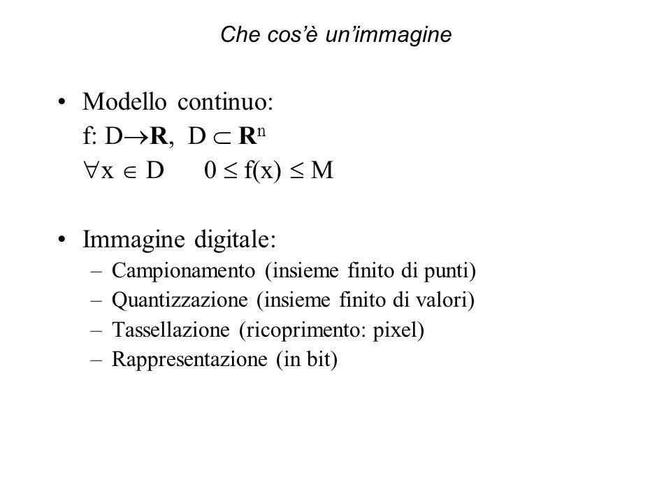 Che cosè unimmagine Modello continuo: f: D R, D R n x D 0 f(x) M Immagine digitale: –Campionamento (insieme finito di punti) –Quantizzazione (insieme