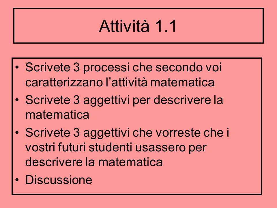 Attività 1.1 Scrivete 3 processi che secondo voi caratterizzano lattività matematica Scrivete 3 aggettivi per descrivere la matematica Scrivete 3 agge