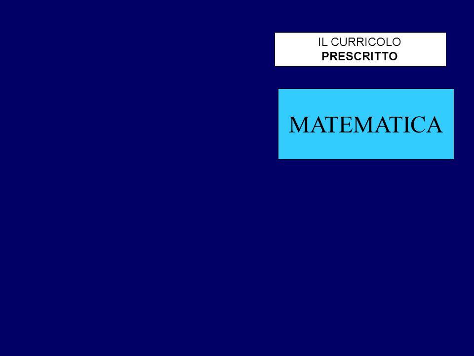 MATEMATICA IL CURRICOLO PRESCRITTO