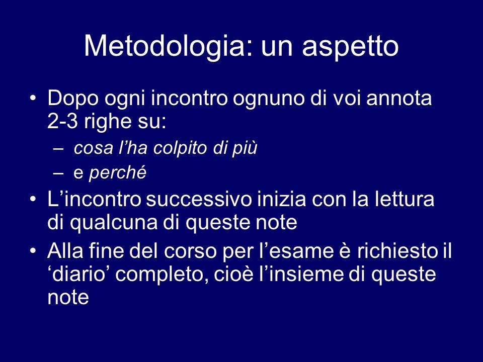 Metodologia: un aspetto Dopo ogni incontro ognuno di voi annota 2-3 righe su: – cosa lha colpito di più – e perché Lincontro successivo inizia con la