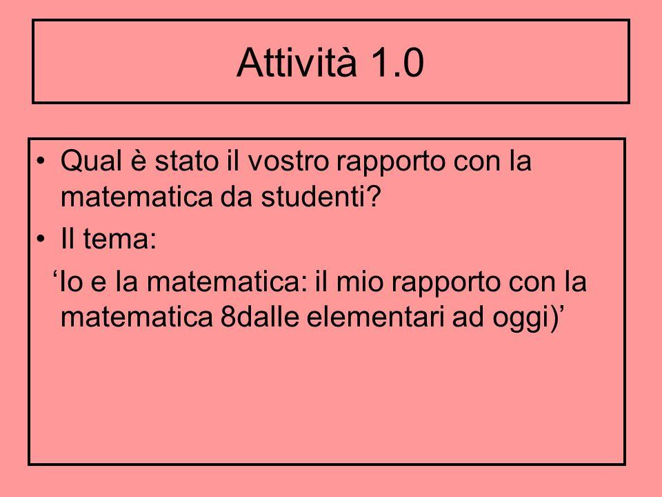 Attività 1.0 Qual è stato il vostro rapporto con la matematica da studenti? Il tema: Io e la matematica: il mio rapporto con la matematica 8dalle elem
