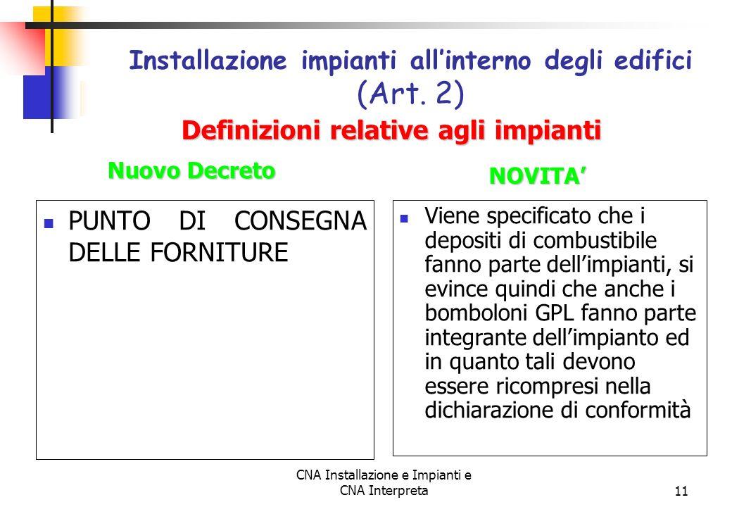 CNA Installazione e Impianti e CNA Interpreta11 PUNTO DI CONSEGNA DELLE FORNITURE Installazione impianti allinterno degli edifici (Art. 2) Viene speci