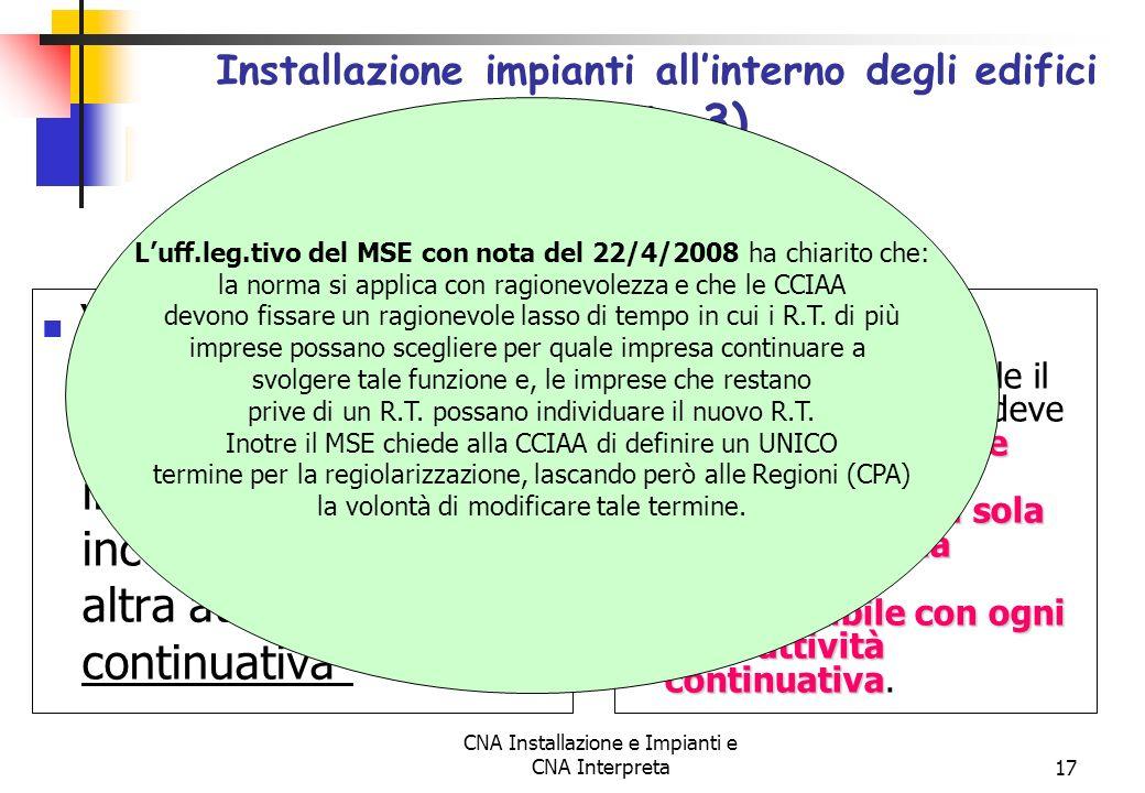 CNA Installazione e Impianti e CNA Interpreta17 Il Responsabile Tecnico svolge la sua funzione per UNA sola impresa e la qualifica è incompatibile con