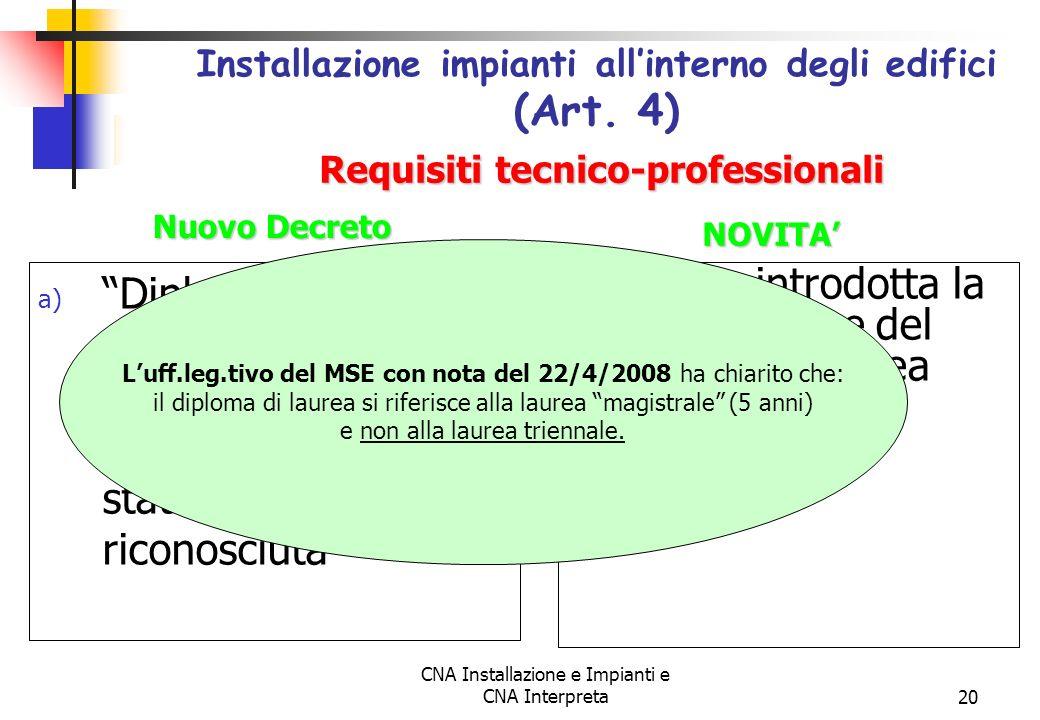 CNA Installazione e Impianti e CNA Interpreta20 a) Diploma di laurea in materia tecnica specifica conseguito presso ununiversità statale o legalmente