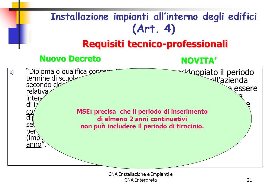 CNA Installazione e Impianti e CNA Interpreta21 b) Diploma o qualifica conseguita al termine di scuola secondaria del secondo ciclo con specializzazio