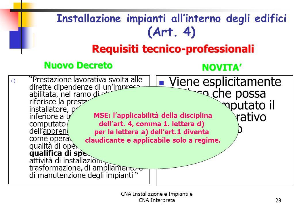 CNA Installazione e Impianti e CNA Interpreta23 d) Prestazione lavorativa svolta alle dirette dipendenze di unimpresa abilitata, nel ramo di attività