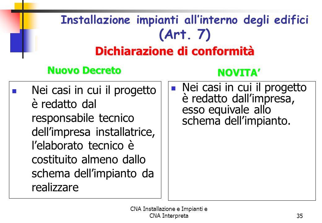 CNA Installazione e Impianti e CNA Interpreta35 Nei casi in cui il progetto è redatto dal responsabile tecnico dellimpresa installatrice, lelaborato t