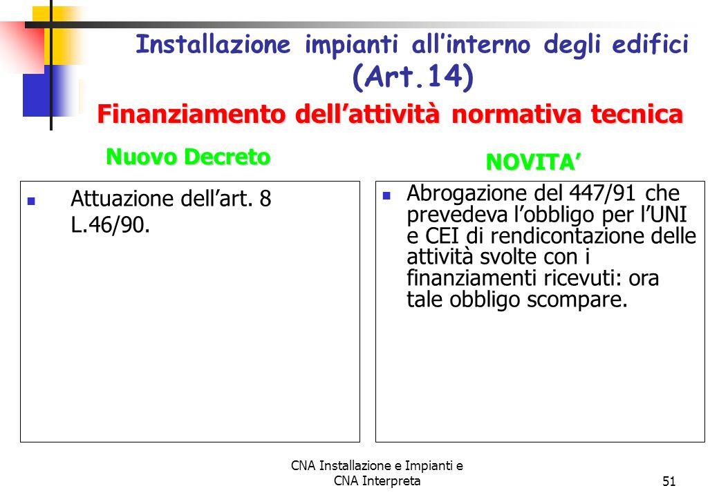 CNA Installazione e Impianti e CNA Interpreta51 Attuazione dellart. 8 L.46/90. Installazione impianti allinterno degli edifici (Art.14) Abrogazione de