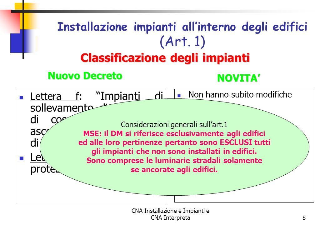 CNA Installazione e Impianti e CNA Interpreta8 Lettera f: Impianti di sollevamento di persone o di cose per mezzo di ascensori, di montacarichi, di sc