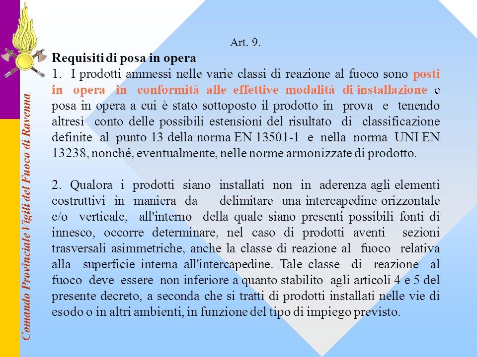 Comando Provinciale Vigili del Fuoco di Ravenna Art. 9. Requisiti di posa in opera 1. I prodotti ammessi nelle varie classi di reazione al fuoco sono