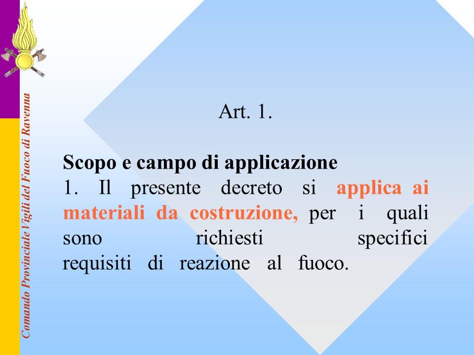 Comando Provinciale Vigili del Fuoco di Ravenna Art. 1. Scopo e campo di applicazione 1. Il presente decreto si applica ai materiali da costruzione, p