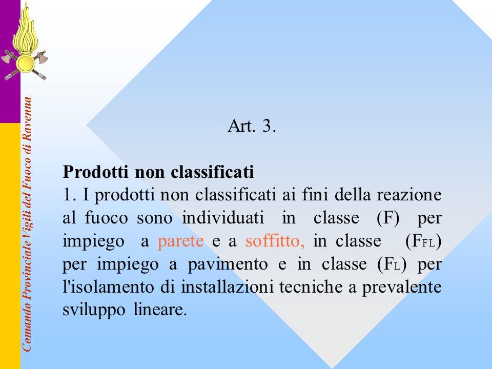 Comando Provinciale Vigili del Fuoco di Ravenna Art. 3. Prodotti non classificati 1. I prodotti non classificati ai fini della reazione al fuoco sono
