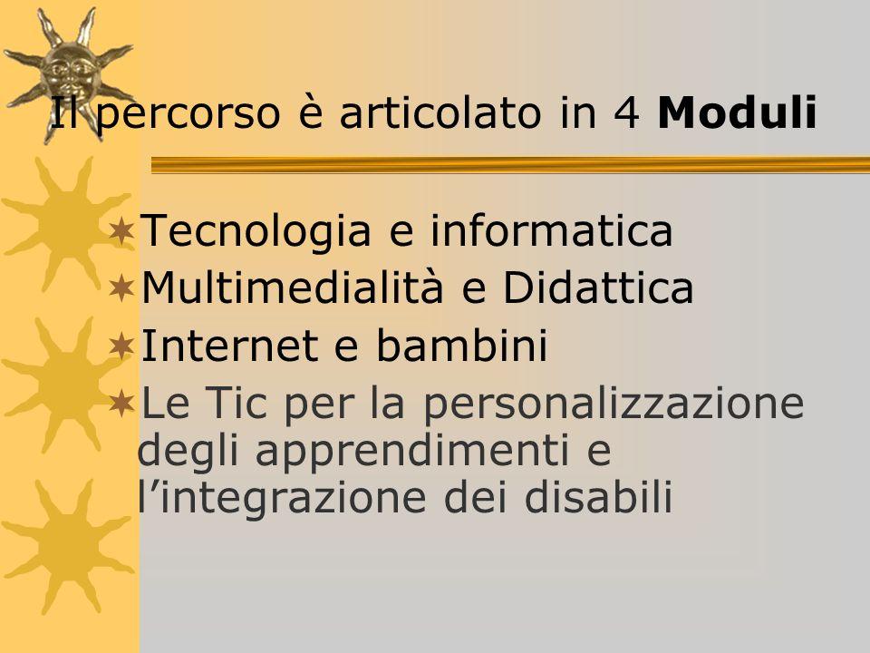 Tecnologia e informatica Multimedialità e Didattica Internet e bambini Le Tic per la personalizzazione degli apprendimenti e lintegrazione dei disabili Il percorso è articolato in 4 Moduli