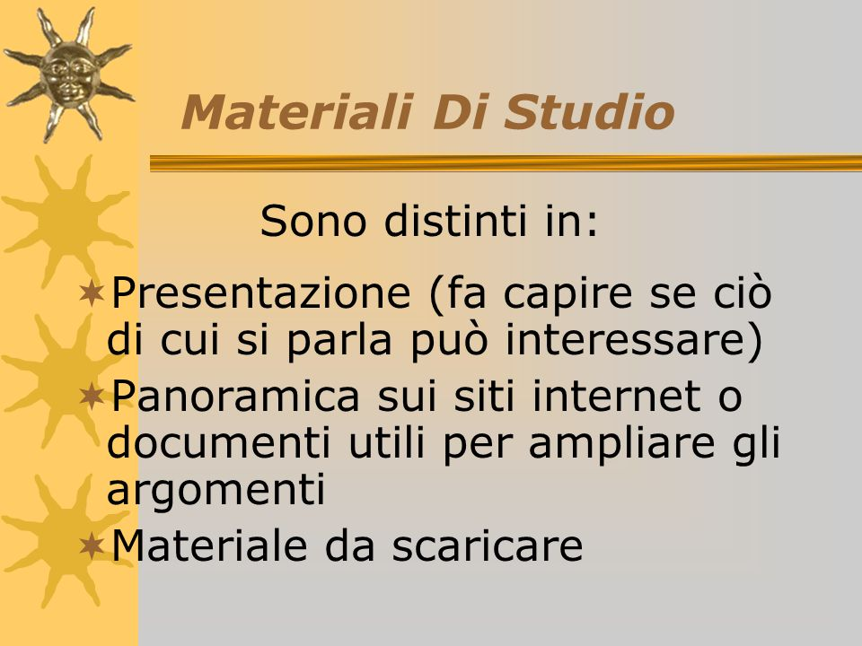 Materiale di studio Laboratori Forum Ogni modulo è distinto in: