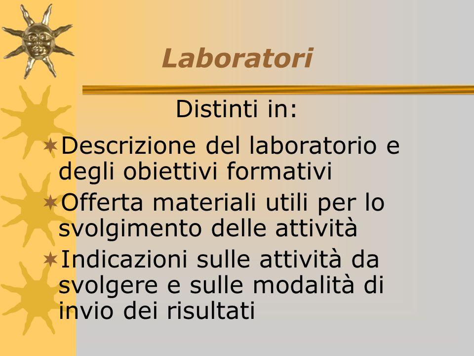 Laboratori Descrizione del laboratorio e degli obiettivi formativi Offerta materiali utili per lo svolgimento delle attività Indicazioni sulle attività da svolgere e sulle modalità di invio dei risultati Distinti in: