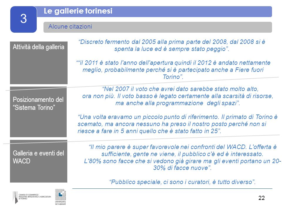 22 3 Le gallerie torinesi Alcune citazioni Discreto fermento dal 2005 alla prima parte del 2008, dal 2008 si è spenta la luce ed è sempre stato peggio
