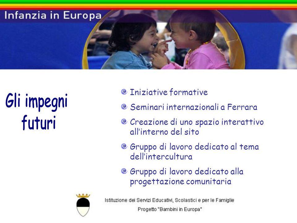Iniziative formative Seminari internazionali a Ferrara Creazione di uno spazio interattivo allinterno del sito Gruppo di lavoro dedicato al tema dellintercultura Gruppo di lavoro dedicato alla progettazione comunitaria