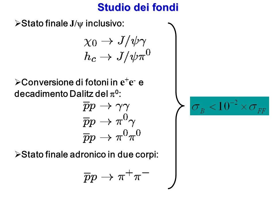 Studio dei fondi Stato finale J/ inclusivo: Conversione di fotoni in e + e - e decadimento Dalitz del 0 : Stato finale adronico in due corpi: