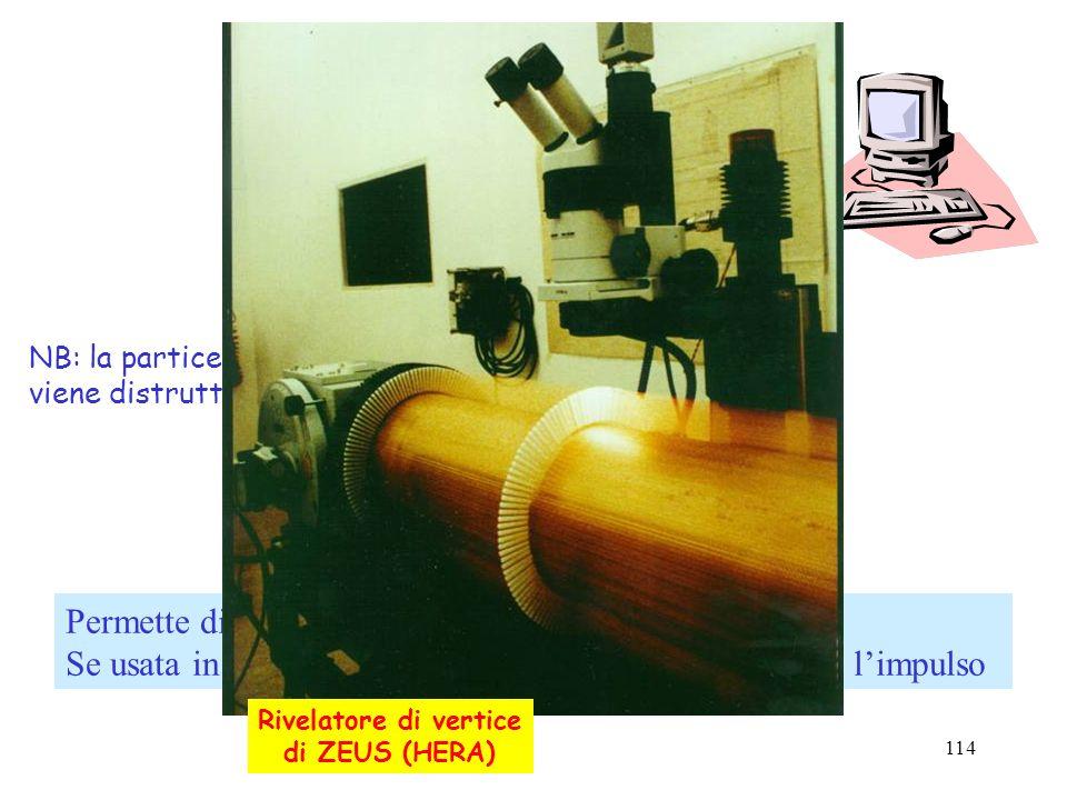 114 Un rivelatore di tracce Permette di individuare la traiettoria della particella. Se usata in campo magnetico si può determinare anche limpulso gas