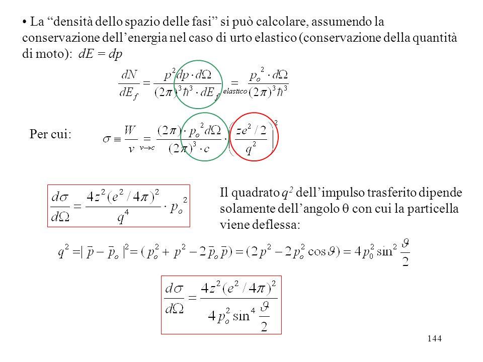 144 Per cui: La densità dello spazio delle fasi si può calcolare, assumendo la conservazione dellenergia nel caso di urto elastico (conservazione dell