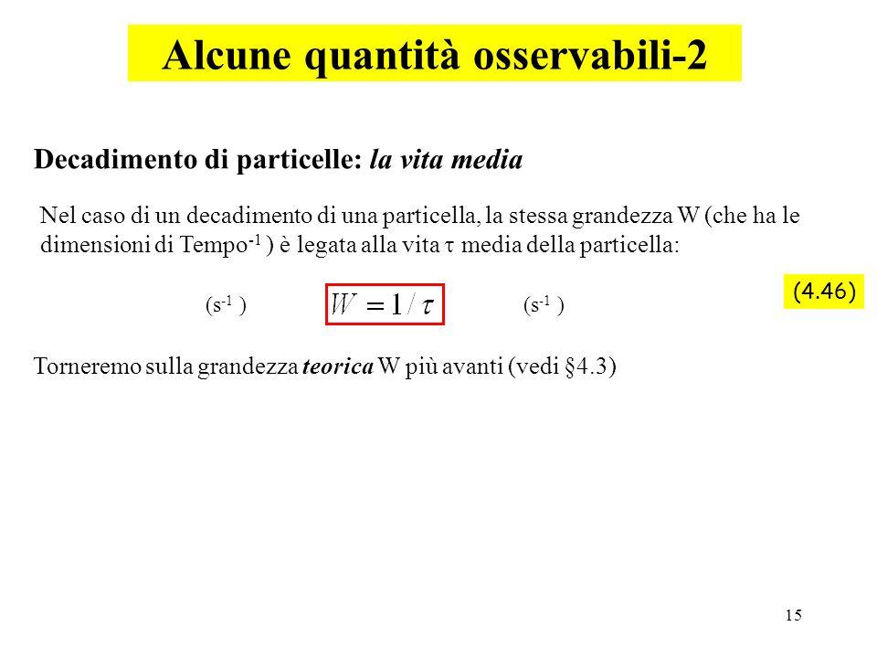 15 Alcune quantità osservabili-2 Nel caso di un decadimento di una particella, la stessa grandezza W (che ha le dimensioni di Tempo -1 ) è legata alla
