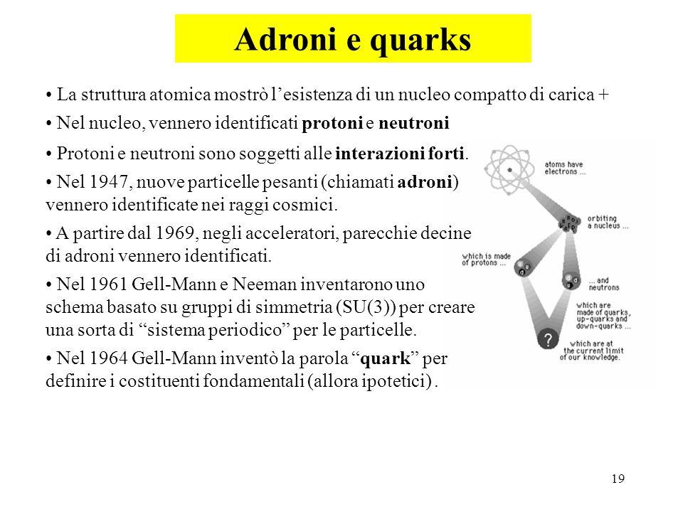 19 Adroni e quarks La struttura atomica mostrò lesistenza di un nucleo compatto di carica + Nel nucleo, vennero identificati protoni e neutroni Proton