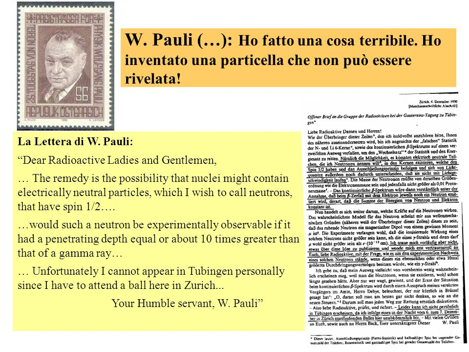 49 W. Pauli (…): Ho fatto una cosa terribile. Ho inventato una particella che non può essere rivelata! La Lettera di W. Pauli: Dear Radioactive Ladies