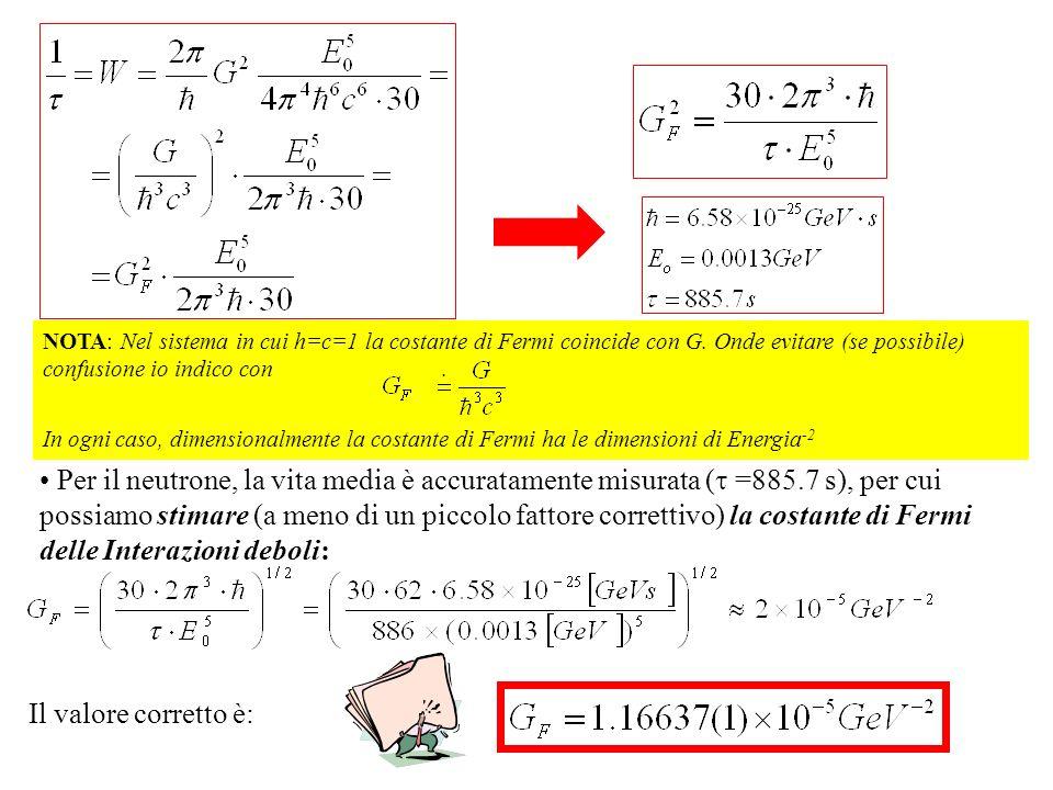 Per il neutrone, la vita media è accuratamente misurata ( =885.7 s), per cui possiamo stimare (a meno di un piccolo fattore correttivo) la costante di