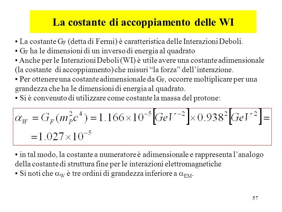 57 La costante di accoppiamento delle WI La costante G F (detta di Fermi) è caratteristica delle Interazioni Deboli. G F ha le dimensioni di un invers