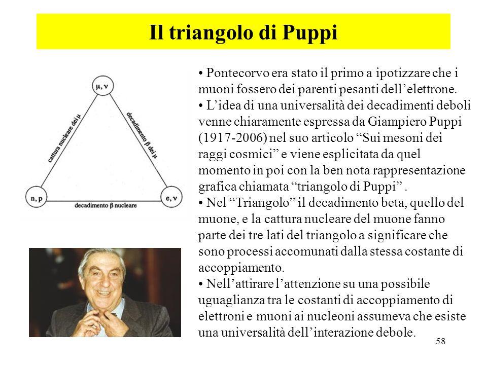 58 Il triangolo di Puppi Pontecorvo era stato il primo a ipotizzare che i muoni fossero dei parenti pesanti dellelettrone. Lidea di una universalità d