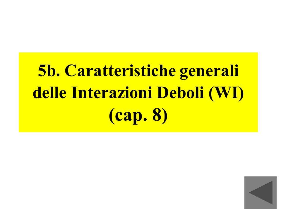 59 5b. Caratteristiche generali delle Interazioni Deboli (WI) (cap. 8)
