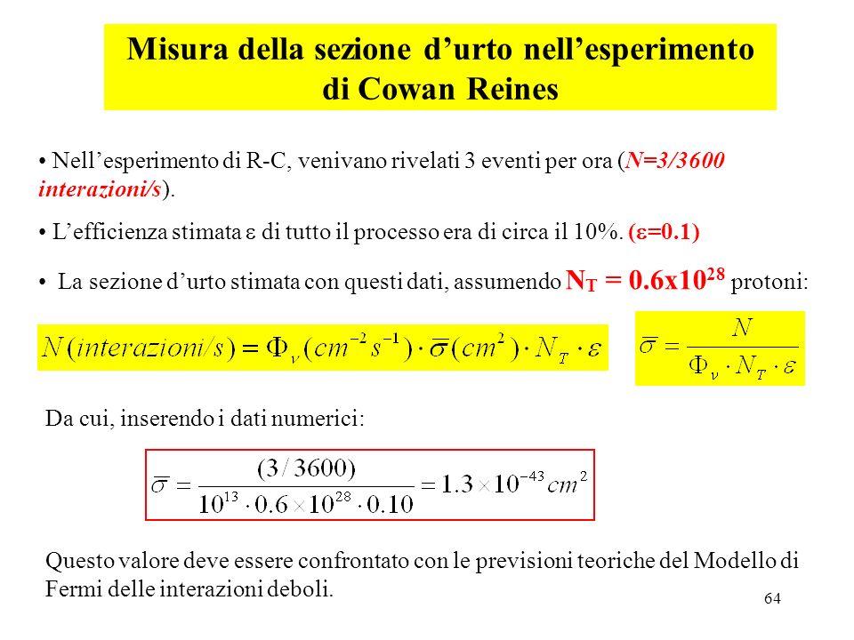 64 Misura della sezione durto nellesperimento di Cowan Reines Da cui, inserendo i dati numerici: Questo valore deve essere confrontato con le previsio