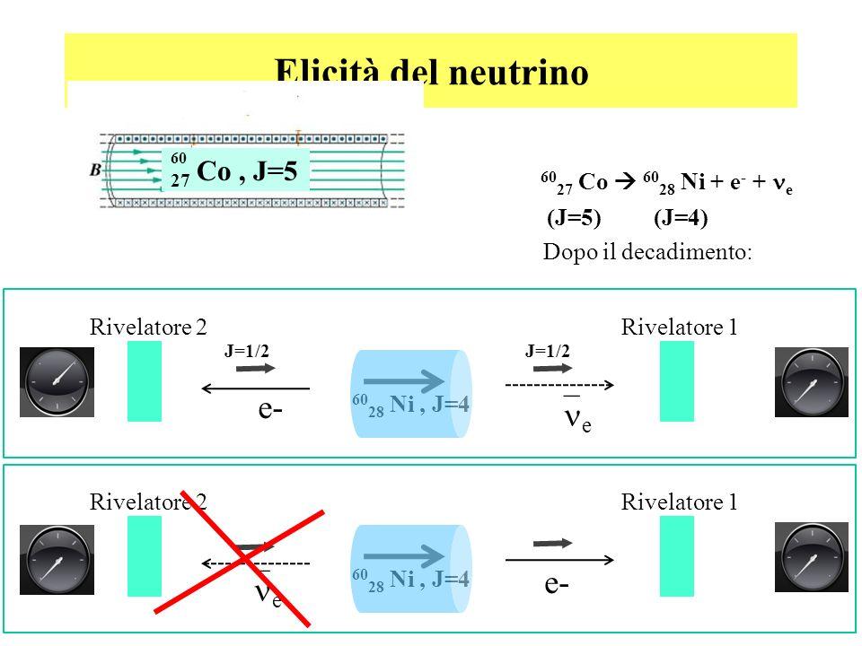 Elicità del neutrino 60 28 Ni, J=4 Dopo il decadimento: Rivelatore 1Rivelatore 2 e e- 60 28 Ni, J=4 Rivelatore 1Rivelatore 2 e- e 60 27 Co 60 28 Ni +