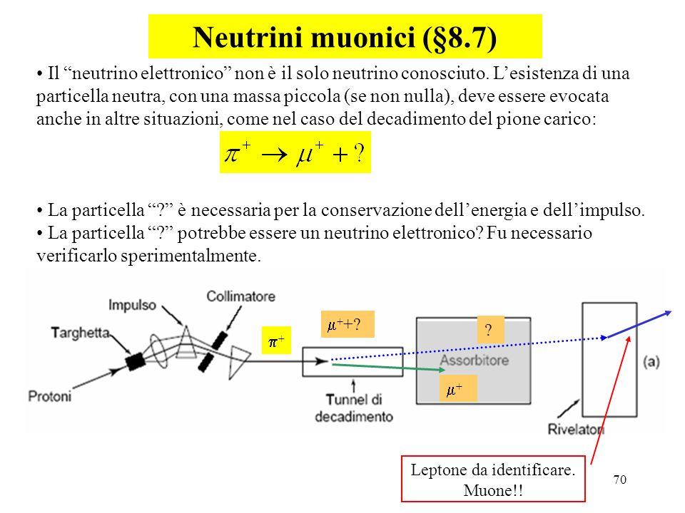70 Neutrini muonici (§8.7) Il neutrino elettronico non è il solo neutrino conosciuto. Lesistenza di una particella neutra, con una massa piccola (se n